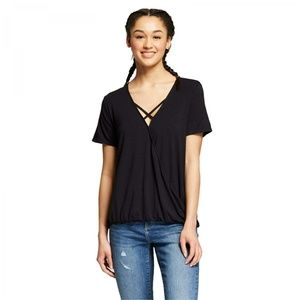 NWT Mossimo Women's Wrap T-Shirt Top XS Black